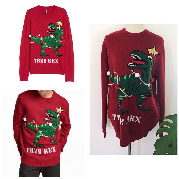 a28c110828eafd Divided Sweaters - Ugly Christmas Holidays T-Rex Dino Tree Sweater M